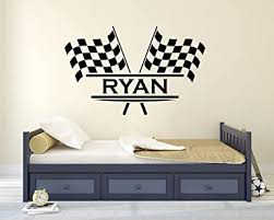Amazon Com Personalized Name Flags Racing Wall Decal Baby Room Decor Nursery Wall Decals Racing Wall Decor Mural Sticker 22 X 14 Industrial Scientific