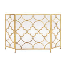 benzara gold 3 panel metal fireplace
