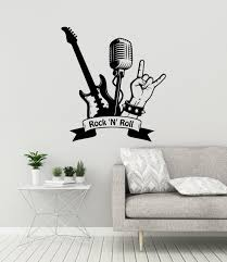 Rock N Roll Vinyl Wall Decal Music Musical Rock Star Musician Etsy Music Wall Decal Vinyl Wall Decals Music Bedroom