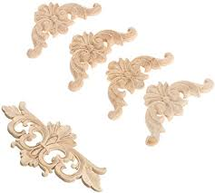 Amazon Com 5pcs Vintage Wood Carved Decal Corner Onlay Applique Frame Furniture Wall Unpainted For Cupboard Cabinet Door Decor Art Crafts Home Kitchen