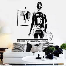 Custom Name Female Volleyball Jersey Numbers Wall Decal Vinyl Stickers Wall Art Volleyball Murals Home Decor Wallpapers Lc1065 Wall Stickers Aliexpress
