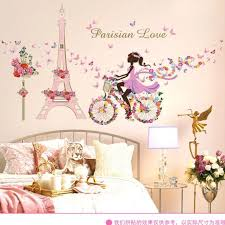 Flower Fairy Bicycle Tower Girl Wall Sticker Stickers Home Decal Living Room Decoration Accessories For Kids Room Decor Wall Stickers Aliexpress