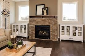 stone faced gas fireplace built ins