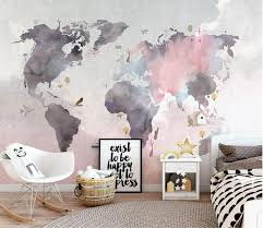 Modern World Map Design Wallpaper High Quality Pink And Gray Abstract Map Of The World Wall Mural For Home Map Wall Mural Photo Mural Wall World Map Wallpaper