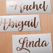 Rose Gold Name Decal Gold Foil Custom Name Rose Gold Script Etsy Gold Wall Stickers Custom Quote Print Gold Wall Decals