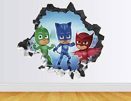 Amazon Com Pj Masks Wall Decal Smashed 3d Sticker Vinyl Decor Mural Art Kids Broken Wall 3d Designs Ah57 Giant Wide 50 X 46 Height Home Kitchen
