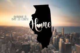 Illinois Home Decal Illinois Heart Decal State Car Decals Etsy