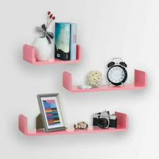 Pink U Wall Mounted Floating Shelves Kids Room Bookcase Storage Shelving Ebay