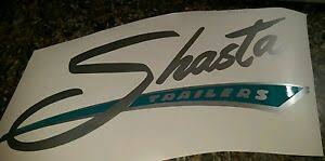 Shasta Vinyl Decal Sticker Vintage Camper Large Silver With Turquoise Background Ebay