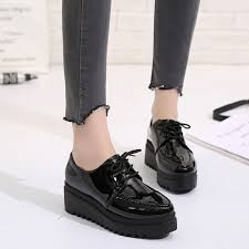 platform shoes brogue patent leather