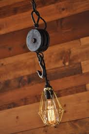 hanging pulley wheel cage light fixture