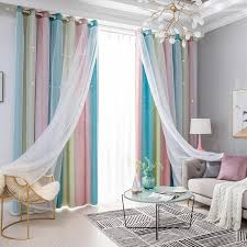 2020 Star Curtains Stars Blackout Curtains For Living Room Kids Girls Bedroom Colorful Double Layer Star Window Tulle From Kuaikey 30 02 Dhgate Com
