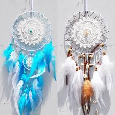 Nordic Dream Catcher White Blue Dreamcatcher Kids Room Decoration Girl Dream Catcher Dream Catcher White Girls Room Decor