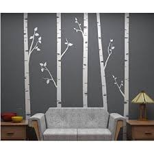 Wendana Set Of 5 Vinly White Trees Wall Decal Birch Tree Sticker For Living Room Decor Tree Wall Sticker For Kids Room Nnursery Wall Art Walmart Com Walmart Com