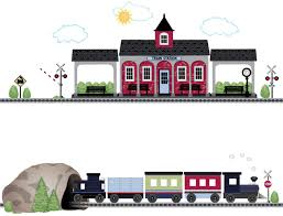 Amazon Com Navy Caboose Train Train Station And Tunnel Wall Decals With 15 Ft Straight Railroad Track Reusable Wall Stickers Col 2 Home Kitchen