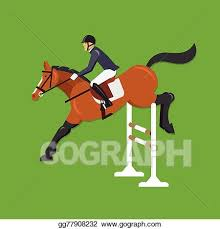 Eps Illustration Horse Jumping Over Fence Vector Clipart Gg77908232 Gograph