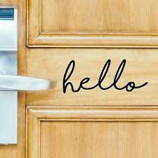 Hello Front Door Welcome Decal Sticker Sign Vinyl Greeting Decor White Red Black Ebay