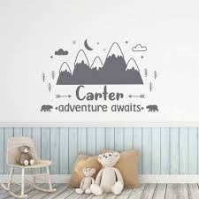 Adventure Awaits Wall Decal Custom Kids Name For Nursery Decor Vinyl Wall Sticker Woodland Style Name Decals A39 Wall Stickers Aliexpress