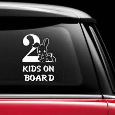 2 Kids On Board Car Sticker Decal Car Window Decal Baby Etsy