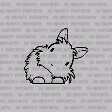 Peering Cute Head Tilt Lionhead Bunny Decal Rabbit Car Sticker Laptop Sticker Phone Vinyl Sticker Glossy Black Lionhead Bunny Bunny Coloring Stickers