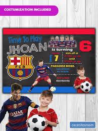 Invitacion De Cumpleanos Futbol Club Barcelona Messi Con Foto