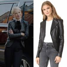 """Ada Stone wears this black leather """"Bristol"""" jacket from Theory on Dynasty  2x07"""