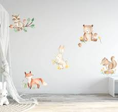 Watercolor Woodland Forest Animals Wall Decals