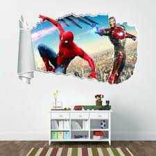 Iron Man Spider Man 3d Torn Hole Ripped Wall Sticker Decal Art Marvel Wt412 For Sale Online