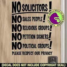 No Soliciting Solicitors Decal Sticker Sign Trespassing Privacy Front Door Blk For Sale Online Ebay