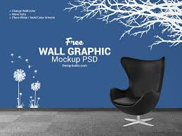 free wall decal sticker mockup psd by