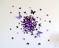 3d Purple Butterfly Wall Decor Home Inspirations 3d Wall Decor For Kids Room