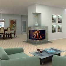 two sided modern corner fireplaces