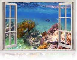 Amazon Com Realistic Window Wall Decal Peel And Stick Coral Decor For Living Room Bedroom Office Playroom Underwater Wall Murals Removable Window Frame Style Ocean Wall Art Vinyl Poster Wall