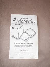 west bend bread machine manual