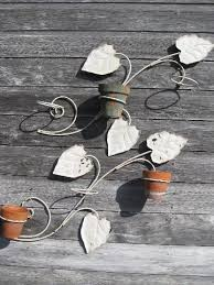Garden Wall Or Fence Hangers For Flower Pots Vintage Brackets W Metal Leaves