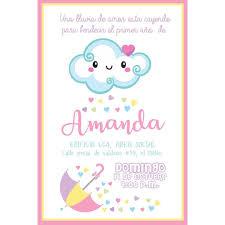 Una Lluvia De Amor Para El Primer Anito De Amanda Invitaci