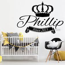 King Crown Personalized Name Wall Stickers Removable Wall Decal Monogram Boys Kids Vinyl Sticker Wall Decor Mural Poster Sa632 Removable Wall Decals Decoration Muralename Wall Decals Aliexpress