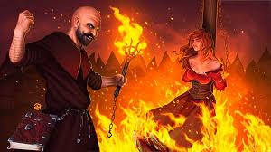 """Создать мем """"огненный маг фэнтези арт, ведьма на костре инквизиции ..."""