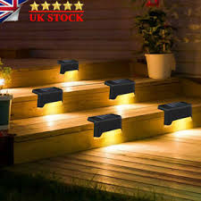 4 8pcs Led Solar Powered Fence Wall Lights Garden Lamp Step Path Decking Outdoor Ebay