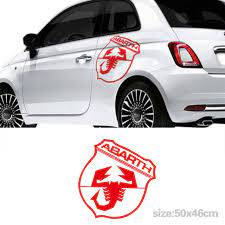 Automobile 2pcs For Fiat 500 Abarth Side Car Large Decal Car Stickers Graphics Sticke Car Styling Da A45 Car Stickers Aliexpress