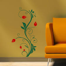 Vertical Floral Vine Wall Decal 2 Color Decal The Walls