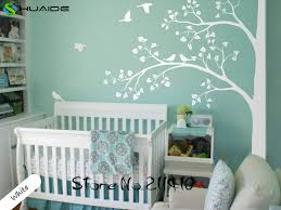 Baby Nursery Wall Stickers Tree White Tree Wall Decals Flying Birds Tree Branches Wall Art Home Decor Living Room Mural Jw193a White Tree Wall Decal Tree Wall Decalsticker Tree Aliexpress