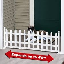 Pet Store Free Standing Expandable White Picket Fence Pet Gate Expands Up To 53 Wide By Etna Products Co Inc Http Pet Gate Diy Dog Gate White Picket Fence