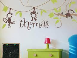 Alphabet Garden Designs Monkey Vines Personalized Wall Decal Wayfair
