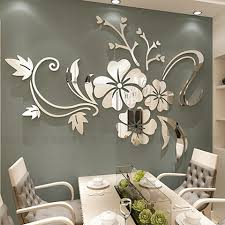 Exquisite Flower 3d Mirror Wall Stickers Removable Decal Art Mural Home Bedroom Tv Background Decoration 40 60 Cm Wall Stickers Aliexpress