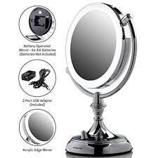 led lighted tabletop makeup mirror