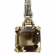 gold emerald cut smoky quartz pendant