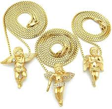 3 piece cherub angel micro pendant set