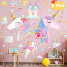 Amazon Com 3 Sheets Large Size Upgrade Unicorn Wall Sticker Unicorn Wall Decals Decor With Rainbow Castle Birthday Christmas Gifts For Boys Girls Kids Bedroom Decor Nursery Room Home Decor Home Kitchen