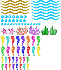 Amazon Com Vwaq Ocean Wall Stickers Seahorse Decals Under The Sea Theme Kids Room Nursery Decor Removable And Reusable Pas33 Home Kitchen